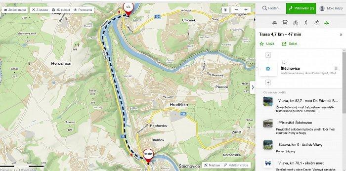 Štěchovice - Davle (4,7 km).